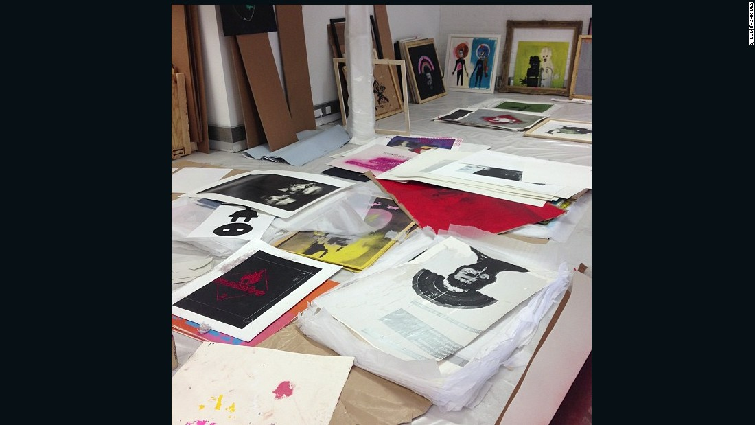 """""""This is a photograph of artworks by my good pal Robert del Naja (aka Massive Attack's 3D). It took me about a decade to make him confident enough as an artist to do an exhibition, so it was a real pleasure seeing him pull together all these works."""""""