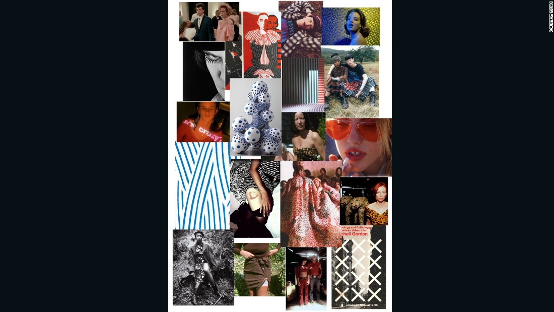 MSGM designer Massimo Giorgetti's mood board is a mix of film, art and 90s grunge references.