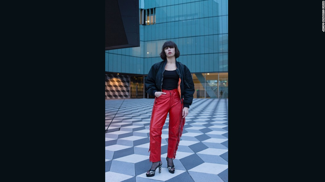 "<strong>Irene Gotri Delledonne, 31, is a visual merchandiser for Valentino. She likes clubbing, techno and cold cuts</strong> -- photographed near Piazza Udine on the north east side of Milan. This part of Milan is called ""NOLO"", it is the new creative suburb of Milan."