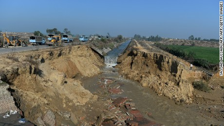 A damaged portion of the Munak canal, which supplies water to New Delhi, near Bindroli village in Haryana's Sonipat district, on February 22, 2016.