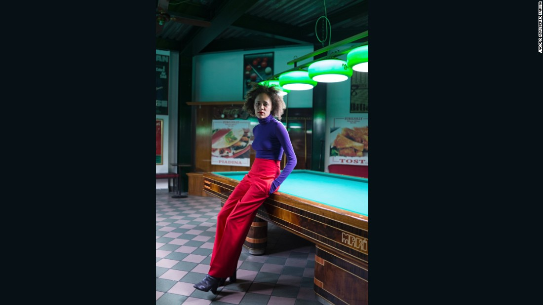 <strong>Lya, 26, is a producer for Stella McCartney</strong> -- photographed inside the old billiards room in Porta Genova, on the south side of Milan.