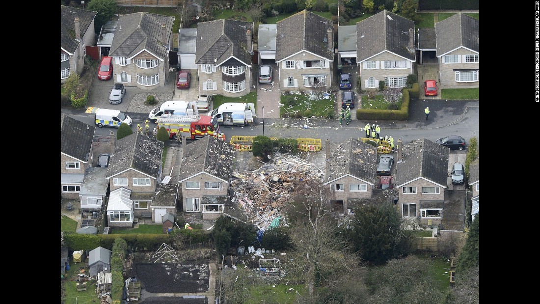 "An aerial view shows the scene of a house explosion in Haxby, England, on Friday, February 19. One man was killed in the blast, which is under investigation, <a href=""http://www.bbc.com/news/uk-england-york-north-yorkshire-35644258"" target=""_blank"">according to the BBC.</a>"