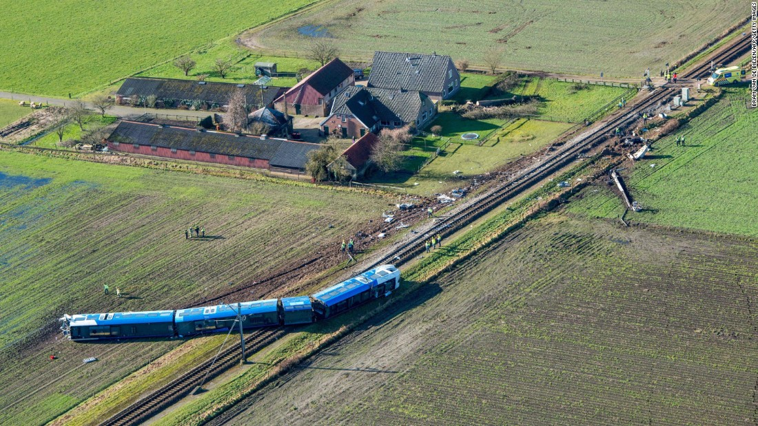 "A passenger train derailed near Dalfsen, Netherlands, after it collided with a hydraulic crane on Tuesday, February 23. At least one person was killed and 10 others were injured, <a href=""http://www.nltimes.nl/2016/02/23/at-least-two-killed-after-passenger-train-smashes-crane-train-overturned/"" target=""_blank"">according to the NL Times.</a>"