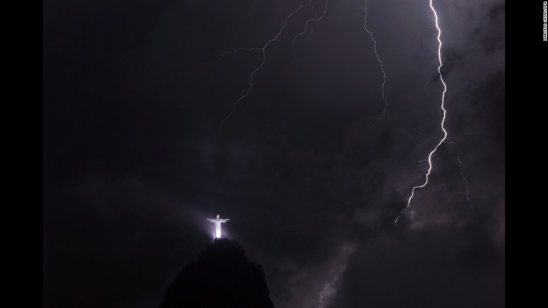 Lightning strikes in front of the Christ the Redeemer statue in Rio de Janeiro on Tuesday, February 23.