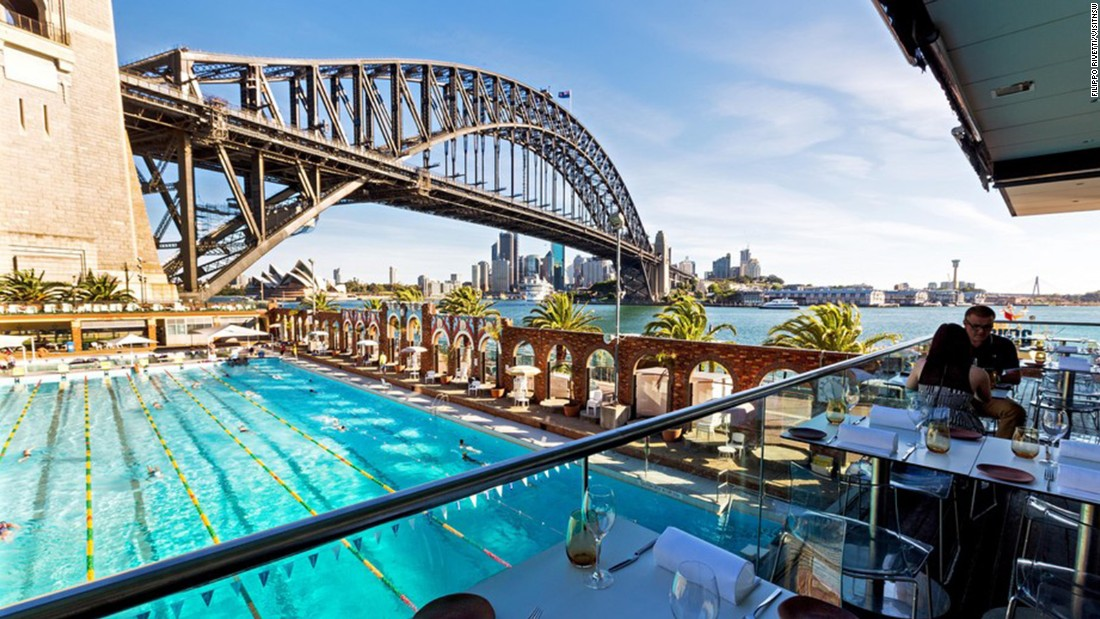 "<a href=""http://aquadining.com.au/"" target=""_blank"">Aqua Dining</a>, sitting above the North Sydney Olympic Pool and next to the harbor, offers Italian fine dining and an up-close view of the bridge."