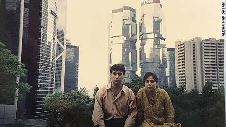 Alisha Haridasani's parents in Hong Kong in 1993.