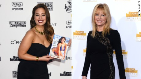 NEW YORK, NY - FEBRUARY 16: Sports Illustrated cover model Ashley Graham poses at the Sports Illustrated Swimsuit 2016 - NYC VIP press event on February 16, 2016 in New York City. (Photo by Jamie McCarthy/Getty Images for Sports Illustrated)  HOLLYWOOD, CA - JANUARY 14: Model Cheryl Tiegs attends NBC and Time Inc. celebrate the 50th anniversary of the Sports Illustrated Swimsuit Issue at Dolby Theatre on January 14, 2014 in Hollywood, California. (Photo by Dimitrios Kambouris/Getty Images)