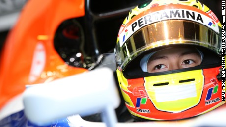 Rio Haryanto of Indonesia and Manor sits in his car in the garage during day four of F1 winter testing at Circuit de Catalunya.