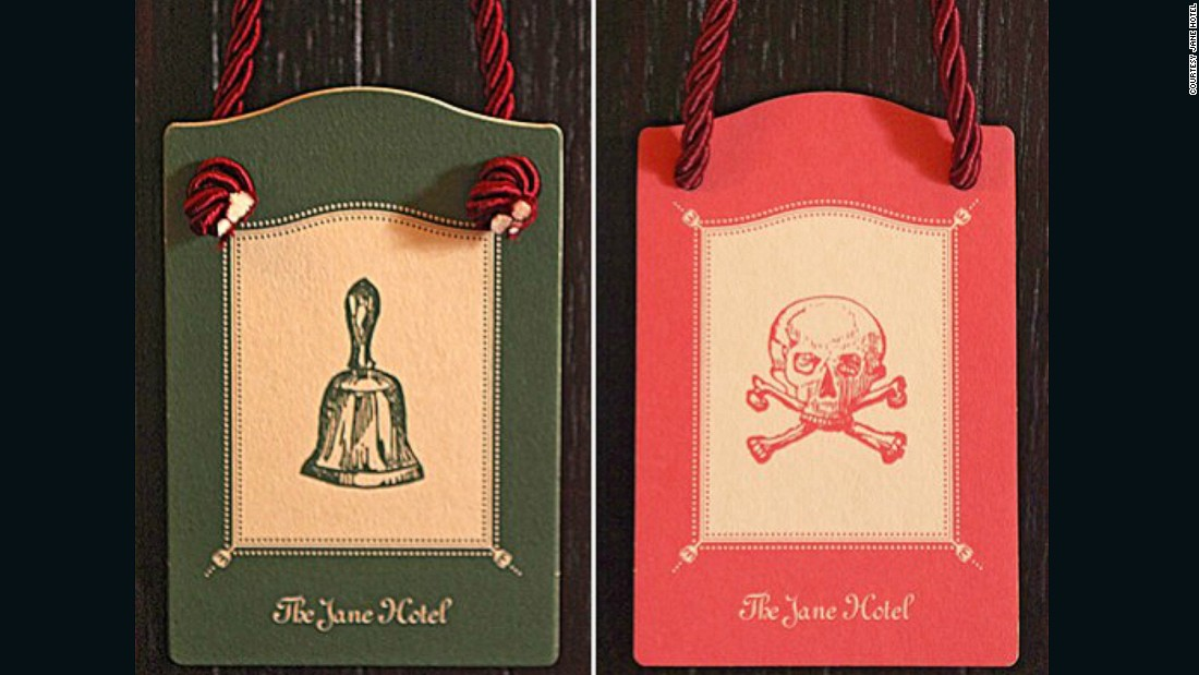 The ever-quirky Jane Hotel, located in Manhattan's West Village, started out as a place for sailors to cast anchor -- it even housed survivors of the Titanic. The marine theme remains (rooms are decked out to look like cabins), and the Victorian-style door hangers are an homage to the hotel's naval past.