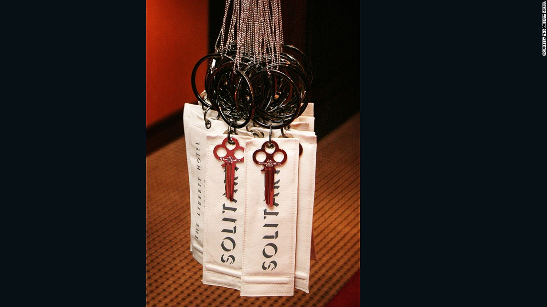 "The Liberty enjoys poking fun at its notorious past -- the building was formerly the site of the Charles Street Jail. In keeping with the jailhouse theme, the hotel uses tags that read ""solitary"" (complete with jailers' keys) in place of traditional Do Not Disturb signs."