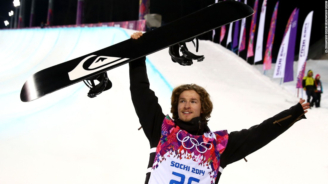 "Halfpipe gold medalist Iouri Podladtchikov -- AKA ""The iPod"" -- celebrates at the Sochi 2014 Winter Olympics. Podladtchikov nailed the first Cab double cork 1440 in competition -- a move he dubbed the ""YOLO Flip."""