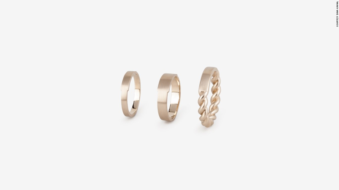 """I would recommend our DINAKAMAL DK01 ID Band Series. Initiated by a private commission to design a wedding band, the ID Gourmette Series was inspired by both: the ancient wedding band which always carried inscriptions on the outside of the ring (instead of inside as we do today), and the 1970s gourmette ID bracelets which were designed with a plaque for inscription."" -- Dina Kamal, Founder of <a href=""http://www.dinakamal.com/"" target=""_blank"">DINAKAMAL DK01</a>"