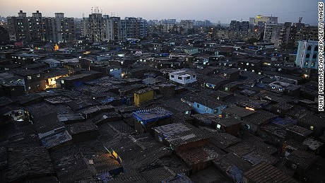Dusk descends over Dharavi, Asia's biggest slum, in Mumbai, India.