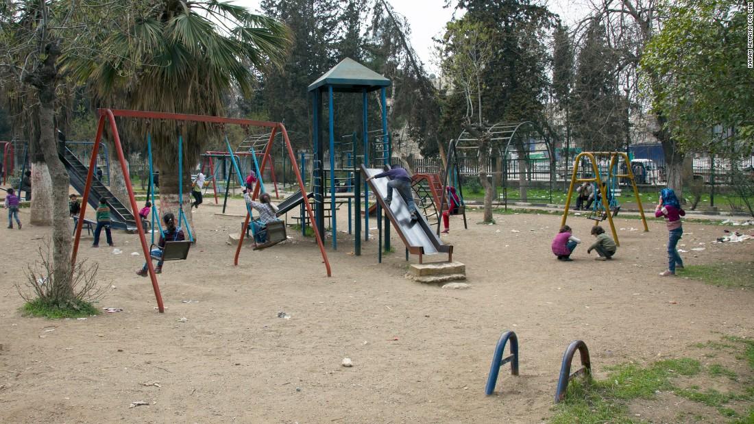 Children play in an Aleppo park.