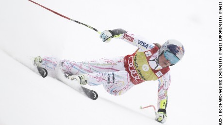 Lindsey Vonn competes during the FIS Alpine Ski World Cup women's Super-G n Soldeu, Andorra.