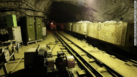 A train drives through a tunnel at the Severnaya coal mine in Russia's icy north.