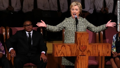 Democratic presidential candidate former Secretary of State Hillary Clinton speaks during church services at Mississippi Boulevard Christian Church on February 28, 2016 in Memphis, Tennessee.
