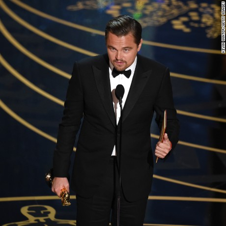 HOLLYWOOD, CA - FEBRUARY 28:  Actor Leonardo DiCaprio accepts the Best Actor award for 'The Revenant' onstage during the 88th Annual Academy Awards at the Dolby Theatre on February 28, 2016 in Hollywood, California.  (Photo by Kevin Winter/Getty Images)