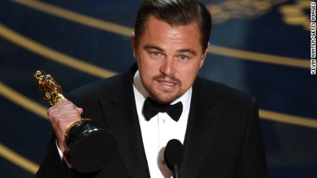 Leonardo DiCaprio accepts the award for best actor award for 'The Revenant' onstage during the 88th Annual Academy Awards at the Dolby Theatre on February 28, 2016 in Hollywood, California.  (Photo by Kevin Winter/Getty Images)