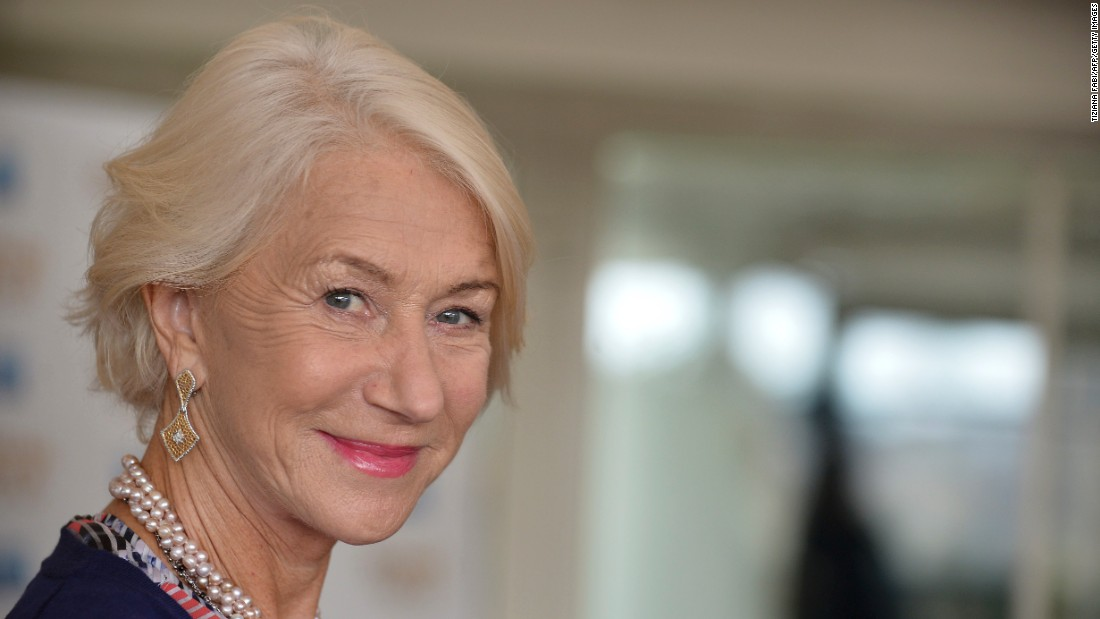 Actress Helen Mirren, 70, allowed her hair to go gracefully gray over a show business career that has spanned decades