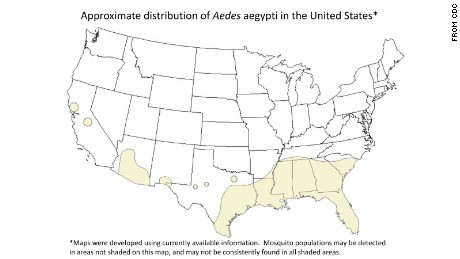 "Maps of U.S. Aedes aegypti distribution  ""are incomplete,"" a CDC official said."