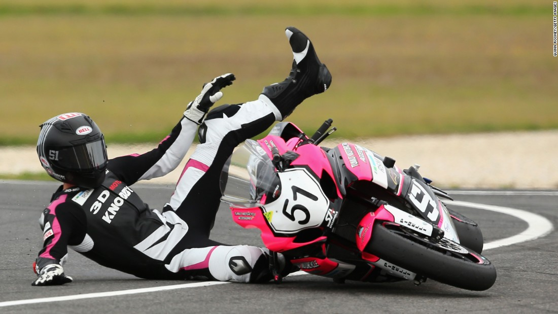Brayden Elliott falls off his motorcycle during an Australian Superbike race on Sunday, February 28.
