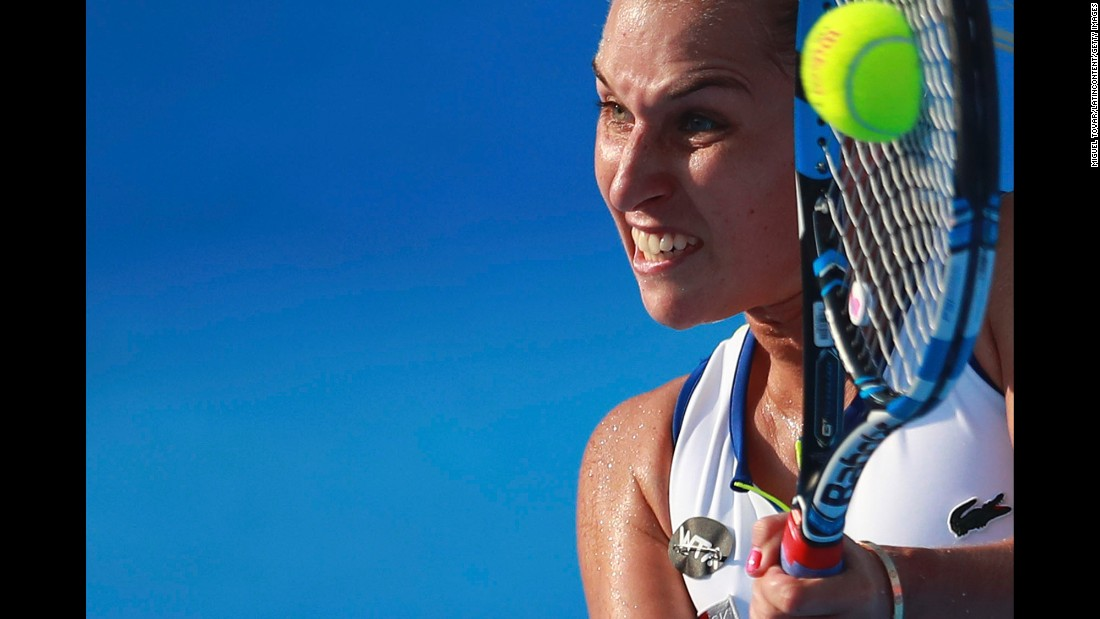 Dominika Cibulkova hits a shot during the semifinals of the Mexican Open on Friday, February 26.