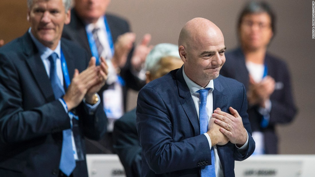 "Gianni Infantino reacts after being <a href=""http://www.cnn.com/2016/02/26/sport/fifa-election-gianni-infantino-president-sepp-blatter/"" target=""_blank"">elected as FIFA's new president</a> on Friday, February 26. Infantino is a Swiss-Italian lawyer who is general secretary of UEFA, the governing body of European soccer."