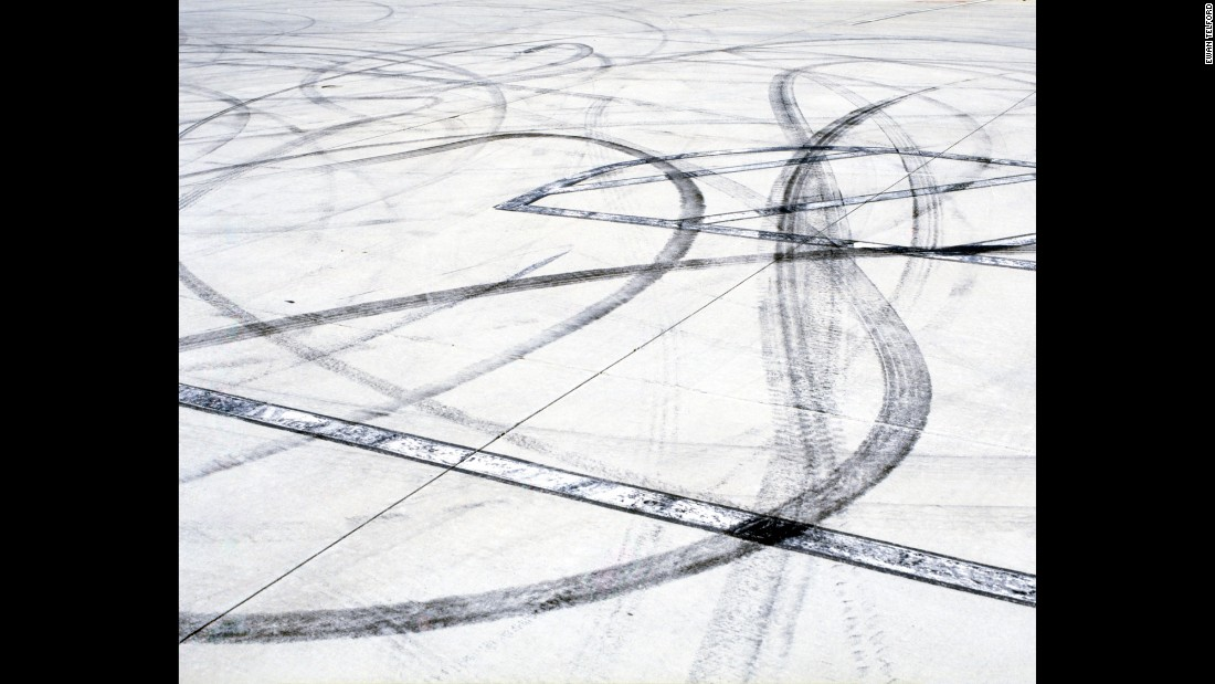 Skid marks on concrete.