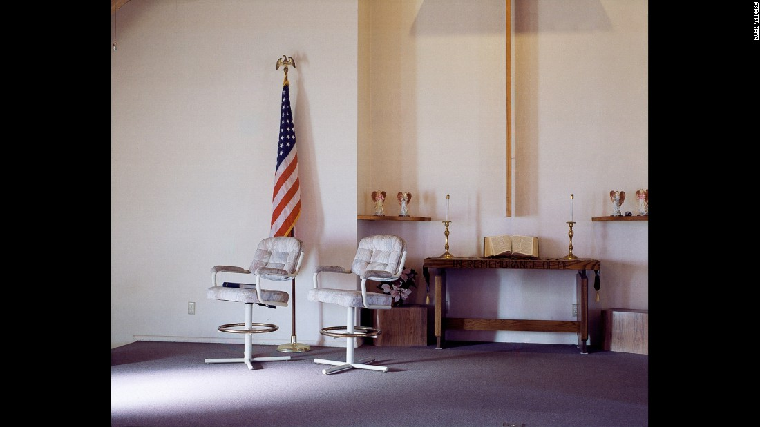 An interior of Trona's Presbyterian Church. The town has 14 churches of various denominations.