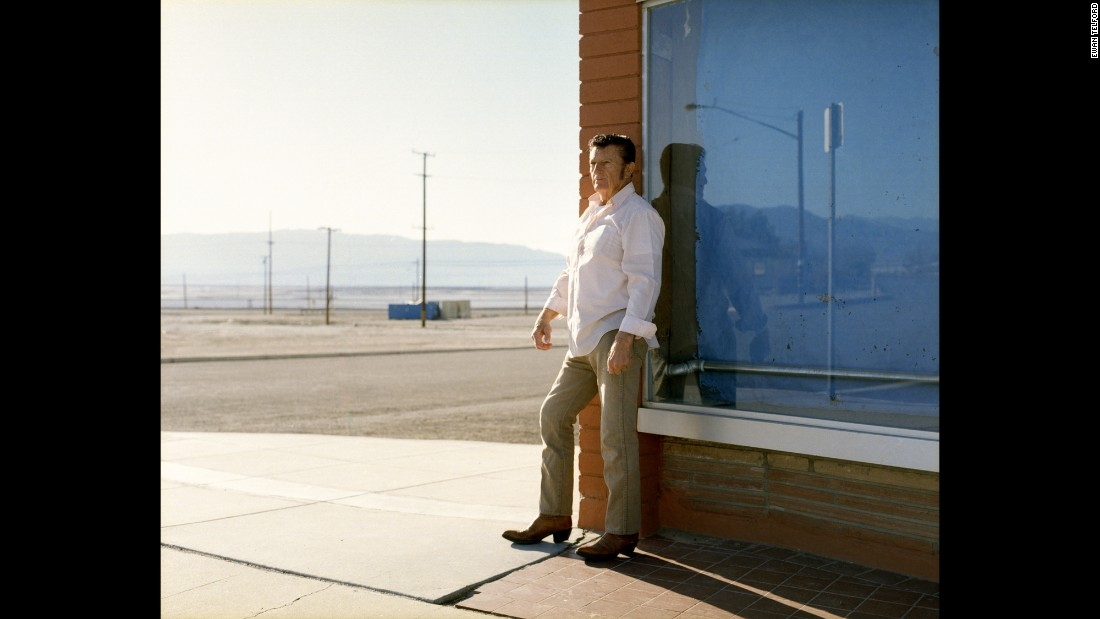 Benny stands outside the Esparza Family Restaurant, Trona's only eatery.