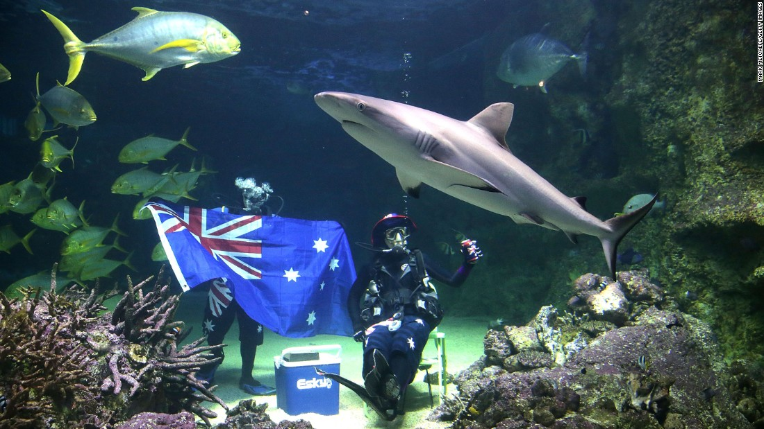 Divers pose with an Australian flag during an Australia Day underwater party in Sydney in 2015. Australia ranked sixth on the list that year, but this year dropped to eighth position on the Visa Restrictions Index.