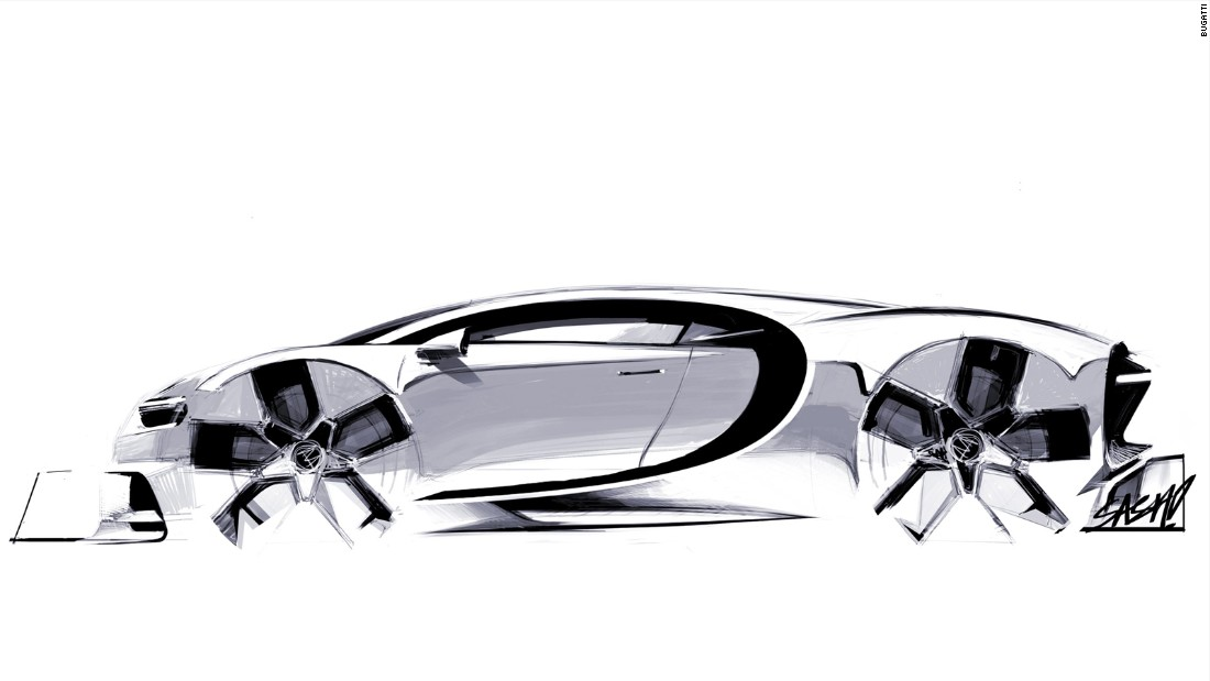 Concept art for the Chiron featuring Bugatti's signature line, a design feature stretching back to the Royale.