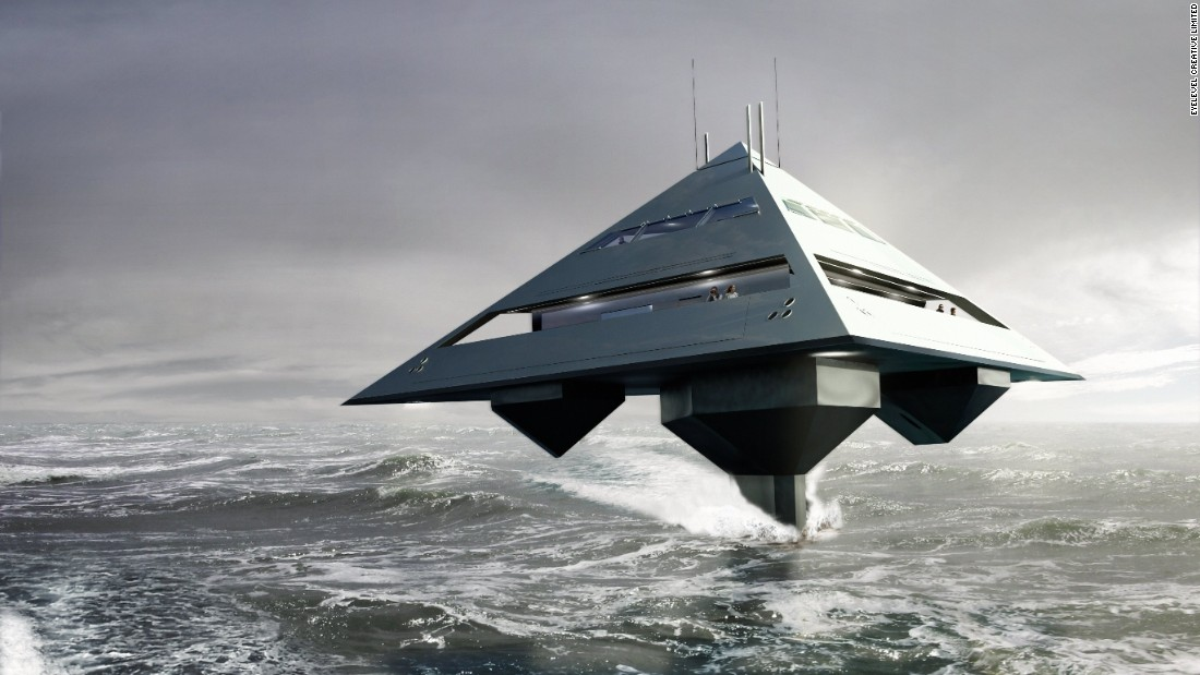 Taking its name from the geometric shape, the Tetrahedron Super Yacht is a floating pyramid that appears to have landed from outer space, merging the aviation and maritime worlds.