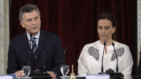 Argentine President Mauricio Macri (L) delivers a speech next to Argentina's Vice President Gabriela Michetti during the inauguration of the 134th period of ordinary sessions at the Congress in Buenos Aires, Argentina on March 1, 2016.  AFP PHOTO / JUAN MABROMATA / AFP / JUAN MABROMATA        (Photo credit should read JUAN MABROMATA/AFP/Getty Images)