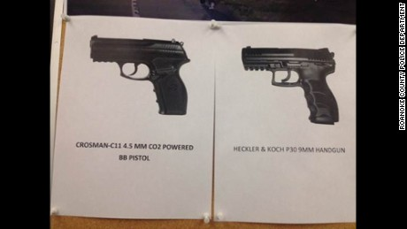 Roanoke County Police released a photo of the BB gun Spencer was carrying, left, next to a 9mm pistol.