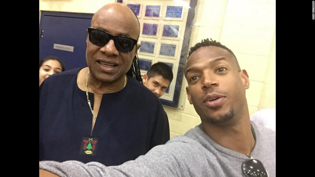 """Saw Stevie Wonder at my son's game #legend,"" <a href=""https://www.instagram.com/p/BCPR4y5ujZs/"" target=""_blank"">actor Marlon Wayans said on Instagram</a> on Friday, February 26. Wayans' son, Shawn, plays basketball in junior high school."