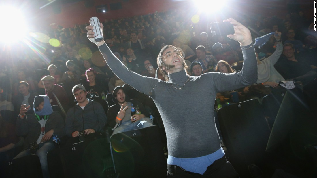 "Actor Sacha Baron Cohen takes a selfie with fans in Berlin at the German premiere of ""The Brothers Grimsby"" on Wednesday, February 24."