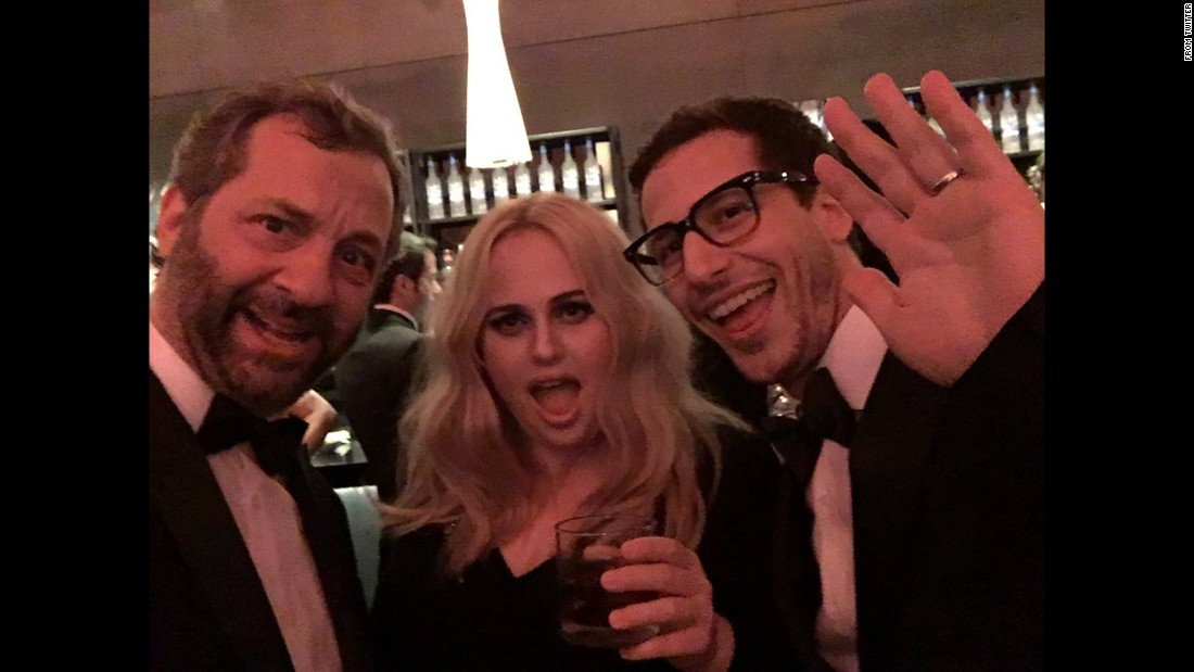 "Film producer Judd Apatow, left, tweeted <a href=""https://twitter.com/JuddApatow/status/704244259944173569"" target=""_blank"">this post-Oscars selfie</a> with actors Rebel Wilson and Andy Samberg on Monday, February 29."