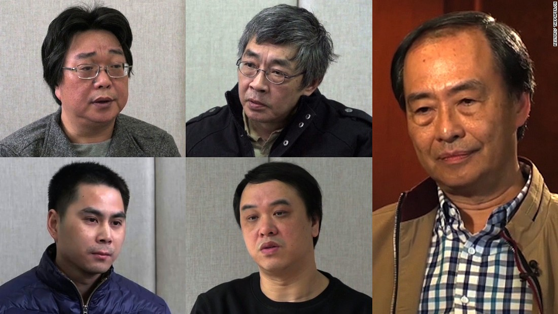 Five Hong Kong residents linked to controversial local publisher Mighty Current and Causeway Bay Books went missing in late 2015 only to reappear months later in Chinese custody. Lam Wing-Kee, top center, resurfaced in Hong Kong on June 16, 2016 after an 8-month absence, saying he had been abducted into the mainland.