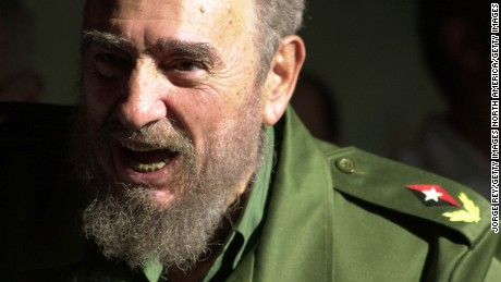 HOLGUIN, CUBA - JANUARY 21:  (FILE PHOTO) Cuban President Fidel Castro speaks at the opening of the new 'Playa Pesquero' hotel January 21, 2003 in the Guardalavaca tourist area of Holguin province, about 850 miles east of Havana, Cuba. Castro, who turns 77 August 13, 2003, has been in power for 44 years, making him the world's longest serving head of state.  (Photo by Jorge Rey/Getty Images)