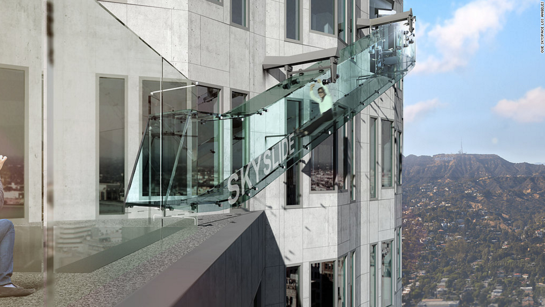 "In June 2016, Los Angeles' US Bank Tower opened <a href=""/2016/06/25/travel/skyslide-skyspace-la-opens/index.html"" target=""_blank"">an observation deck and glass slide</a>, positioned more than 300 meters (or 1,000 feet) above the city."