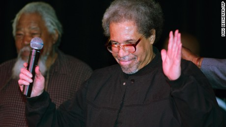 "Albert Woodfox arrives on stage during his first public appearance at the Ashe Cultural Arts Center in New Orleans, Friday, Feb. 19, 2016 after his released from Louisiana State Penitentiary in Angola, La. earlier in the day. Woodfox is the last of three high-profile Louisiana prisoners known as the ""Angola Three"" to be released.  (AP Photo/Max Becherer)"