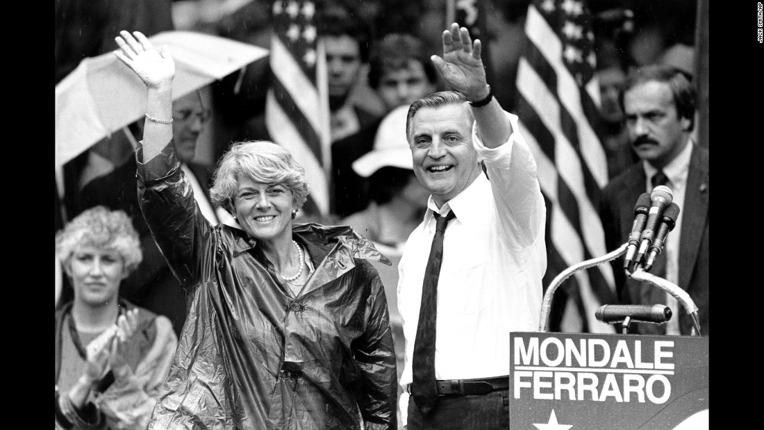 "<strong>Political breakthrough:</strong> Democrat Geraldine Ferraro became the first female vice-presidential candidate on a major party ticket when she ran with Walter Mondale in 1984. During her campaign, <a href=""https://www.washingtonpost.com/local/obituaries/geraldine-a-ferraro-first-woman-major-party-candidate-on-presidential-ticket-dies-at-75/2011/03/26/AFLyheeB_story.html"" target=""_blank"">she said:</a> ""This candidacy is not just a symbol, it's a breakthrough. It's not just a statement, it's a bond between women all over America."""