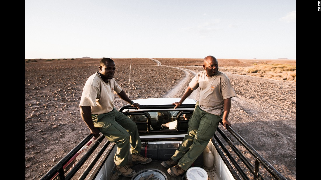Jason and Martin, two Namibian wildlife conservationists/trackers, roll through the desert in search of endangered black rhinos. In the early '70s, there were still about 70,000 of the creatures. Today, only about 5,000 remain.