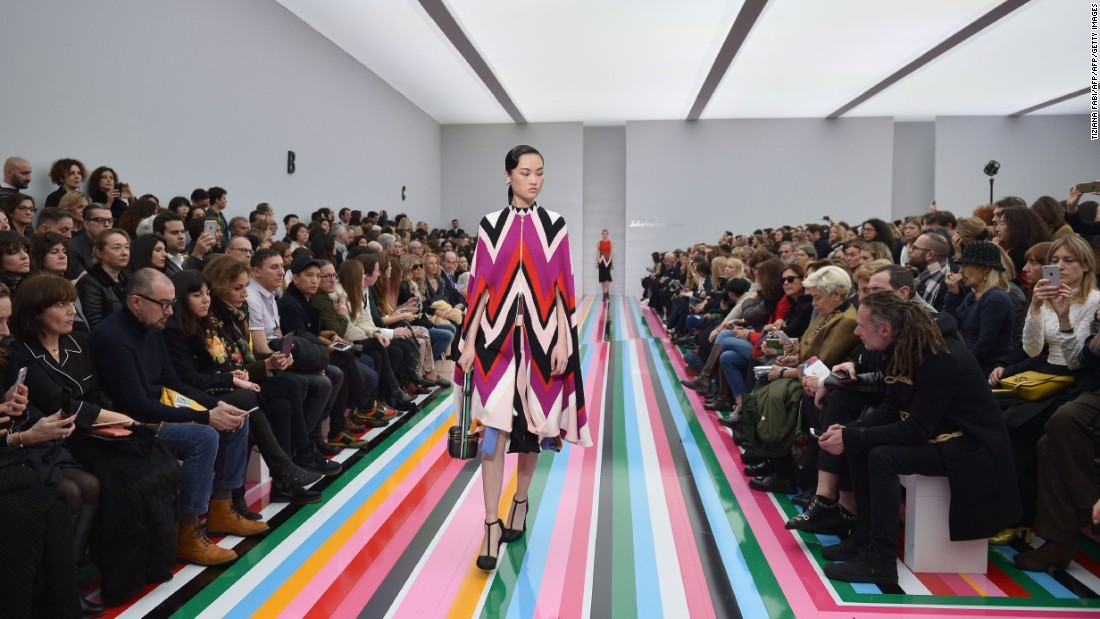 Fashion house Salvatore Ferragamo showed its latest looks on this bright and colorful runway.