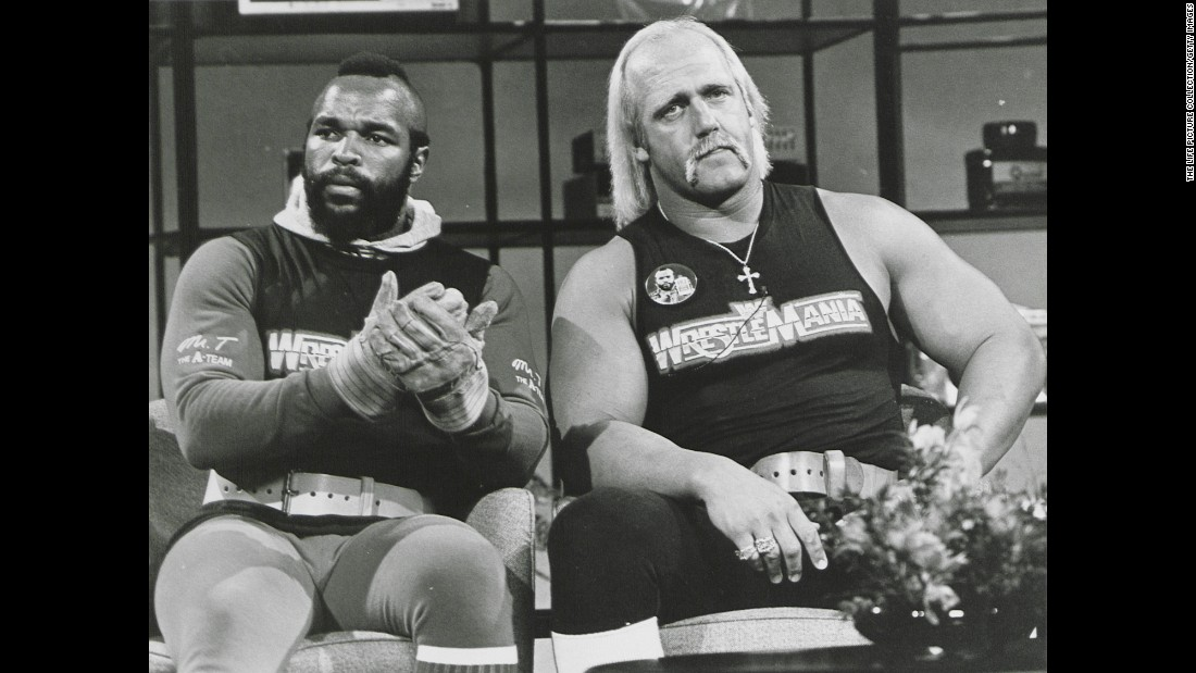 "<strong>Super-friends:</strong> Mr. T and Hulk Hogan -- two tough-guy, pop-culture icons -- joined forces for several projects in the mid-'80s. In March 1985, they <a href=""http://www.miamiherald.com/sports/fighting/article1977819.html"" target=""_blank"">teamed up</a> for the debut of WrestleMania and co-hosted an episode of ""Saturday Night Live."""