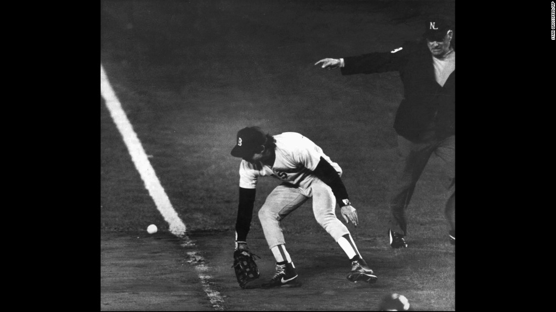 <strong>'It gets through Buckner!':</strong> The Boston Red Sox were up three games to two in the 1986 World Series when the team's first baseman, Bill Buckner, misplayed a ball hit to him, allowing the New York Mets to win Game 6. The Mets went on to win Game 7, making Buckner a scapegoat for the World Series loss. Boston hadn't won a World Series since 1918.