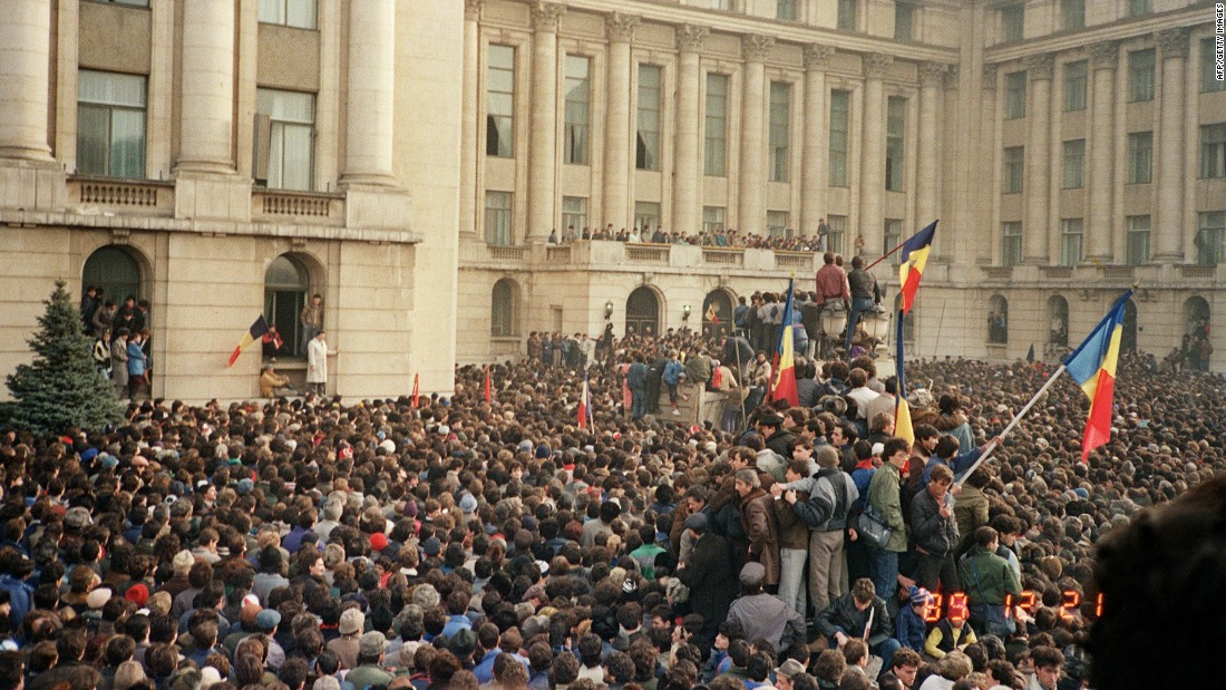 "<strong>A communist defeat:</strong> Eastern Europe saw several uprisings against communism in 1989. Here, Romanian citizens stage an anti-government protest in Bucharest's Republican Square on December 21, 1989 -- just one day before the country's communist leader of 24 years, Nicolae Ceausescu, was overthrown in a violent revolution. Ceausescu's execution, which took place three days later, was <a href=""http://news.bbc.co.uk/2/hi/europe/574200.stm"" target=""_blank"">televised</a> in Romania."