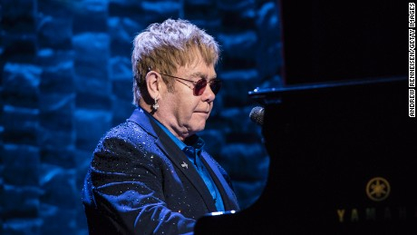 Elton John performs during a fundraiser for Democratic presidential candidate Hillary Clinton at Radio City Music Hall on March 2, 2016 in New York City.